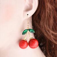 Charm Women Fashion Red Cherry Drop Dangles Rhinestone Ear Studs Earrings FT