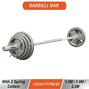 High Quality New Olympic Weight Barbell Bar with 2 Spring Collars 1.5M/1.8M/2.2M