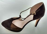 Womens Ladies Vince Camuto Brown Suede T-bar Stiletto Sandals Size 6/39 New