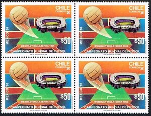 CHILE 1986 STAMP # 1177 MNH BLOCK OF FOUR SOCCER WC MEXICO 86'