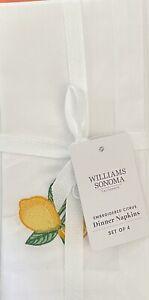 Williams-Sonoma Embroidered Citrus Mixed Napkins Set/4