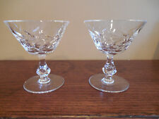 Two Beautiful Vintage Cut Crystal Glasses Champagne Sherbet Dessert Leaf Pattern