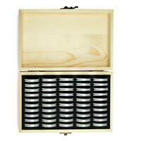 50Pcs Wood Coins Display Storage Box Case Holder Collection with Capsules Supply