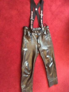 "Mens Biker Black Leather Biker Trousers or Jeans 36"" with Harley-Davidson Braces"