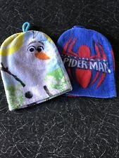 2 Wash Mitts, Face Cloths - Spiderman And Olaf