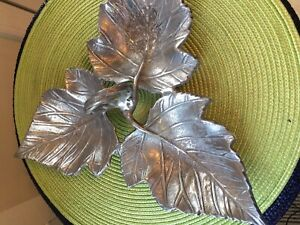 Silver plated Metal Leaf Dish Three Compartments  tray- Preowned. Great