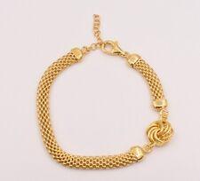 "Italian Rosetta Link Mesh Filigree Bracelet 14K Yellow Gold Clad Silver 925 7.5"""