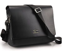 Authentic kangaroo Men's Genuine Leather Shoulder bag Black Color _M166B