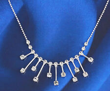Wedding chain Necklace Woman N-A309 18k White Gold Filled Crystals Bridal
