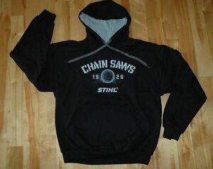 STIHL Officially Licensed Apparel Black Hooded Sweatshirt w Chain Saw cut Log