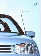 VW VOLKSWAGEN GOLF CABRIOLET S SE AVANTEGARDE C.C. SALES BROCHURE JULY 1998
