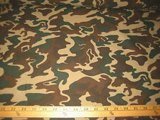 BEIGE/BROWN/HUNTER GREEN CAMOUFLAGE 100% POLYESTER FABRIC 58