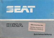 SEAT IBIZA 1 Betriebsanleitung 1989 Typ 021A Bedienungsanleitung Handbuch BA