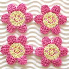 """US SELLER - 10 pcs x (1 3/8"""") Crochet Smiling Flower Appliques/Smiley Face ST211"""