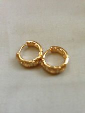18k Yellow Gold Filled Elegant  Huggies Earrings with Cubic Zirconia