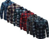 Mens Fleece Padded Lumberjack Shirt Jacket Fur Lined Sherpa Winter Warmer M-2XL