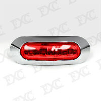 1 x Car Truck Lorry Chrome Bezel Tail Side Marker Red LED Light Clearance Lamp
