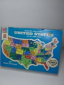 1975 Milton Bradley 2 Maps Authentic Map Of The U.S. Cut On State Lines Puzzle