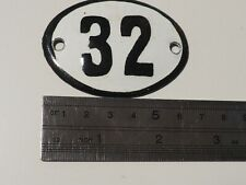 Vintage Enameled Porcelain Tin Sign Number 32  - 2.5 in -1.7 in small RARE (Q1)