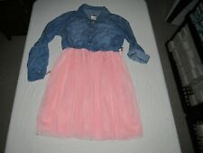 JUSTICE GIRL'S BLUE DENIM CHAMBRAY PINK LACE 1/2 BUTTON UP DRESS SIZE 18/20 NWT