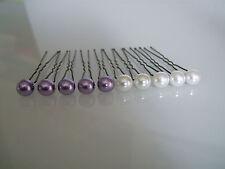 lot 10 Pics cheveux chignon Mariée/Mariage Blanc/Mauve Parme perle pas cher