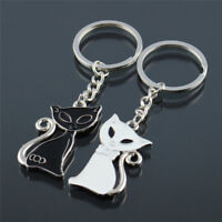 1 Pair Couple Cute Cat Keychain for Lovers Alloy Fashion Jewelry Ring Car T_kz