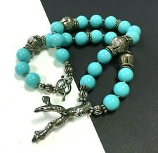 Turquoise Glass & Coral Branch PENDANT Necklace .925 STERLING Silver  WW35k