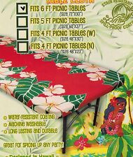 Hawaiian fitted picnic table 6 feet Tablecloth Floral party Luau Hawaii Florida