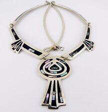 """Vintage Alpaca Silver Mexico  20"""" Abalone and Black Enamel Necklace 33.2 Grams"""