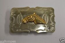 Wow Vintage Western Horse Equestrian Nickel Silver Cowgirl Slim Belt Buckle Rare