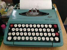 Vintage Smith-Corona SCM Corsair-Blue Aqua Portable Typewriter (Made in England)