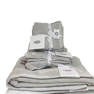 UGG Martis 8 Piece Bathroom Towel Set - Glacier Grey - 100% Organic Cotton - New