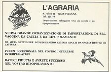 W3905 L'AGRARIA - Importazione selvaggina da caccia - Pubblicità 1972 - Advertis