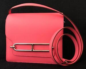 BNIB Authentic Hermès Rose Azalee Evercolor Calfskin Roulis 18CM Handbag