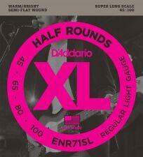 D'Addario Half Round Bass Guitar Strings Regular Light, 45-100, Super Long Scale