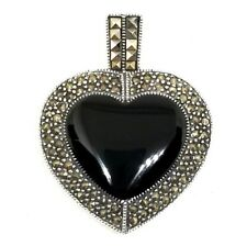 LARGE ONYX HEART PENDANT Vintage Style Marcasite Stones .925 STERLING SILVER