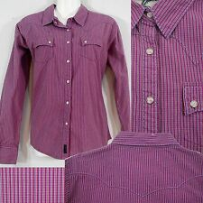 Wrangler Paisley Snap Western Long Sleeve Shirt Striped Sangria Plum Mulberry M