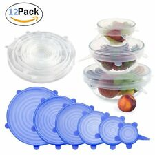 12x Reusable Silicone Stretch Lids Food Kitchen Storage Wraps Cover Various Size