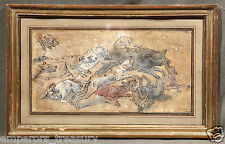 Hunting Dogs and Wild Boar -18th Century Watercolor signed Jean-Baptiste Oudry