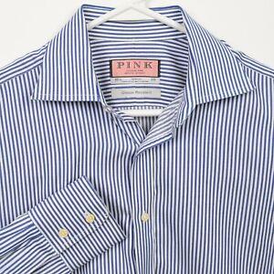 Thomas Pink Men's 15.5-36 Blue Striped Crease Resistant Button-Front Dress Shirt