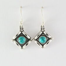 925 Sterling Silver Handmade Earring with Tibetan Turquoise