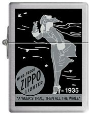 Zippo Windproof Replica 1935 Lighter With Black & Gray Windy, New In Box