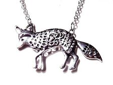 SILVER FOX PENDANT Kitsune forest spirit necklace animal chain nature C5
