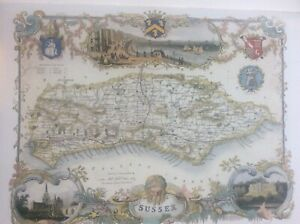 """Sussex Antique Colour Map Thomas Moule County Maps of Old England 14"""""""