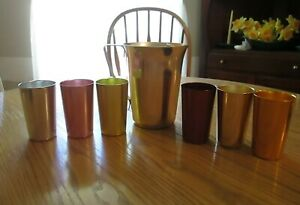Vintage Metal Pitcher and 6 Cups