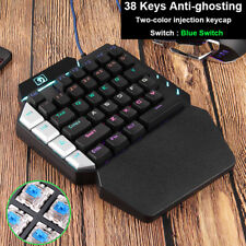 One Handed Mechanical Gaming Keyboard 38 Keys Wired Rainbow Backit Mini Keypad