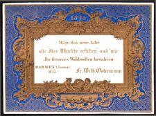 Carte porcelaine. Wilhelm Ostermann. Bonne année 1845. Barmen Allemagne