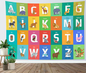 Alphabet ABC Tapestry Kids Babies Learning Wall Hanging For Living Room Bedroom
