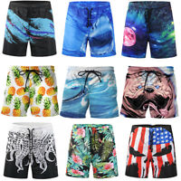 Mens Beachwear Board Shorts Swimming Bathing Trunks Print Quick-dry with Pockets