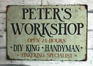 Workshop Sign Personalised Metal Man Cave Garage Shed Gift Idea